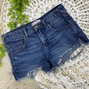 Free People Distressed Denim Cut Off Shorts Sz 25